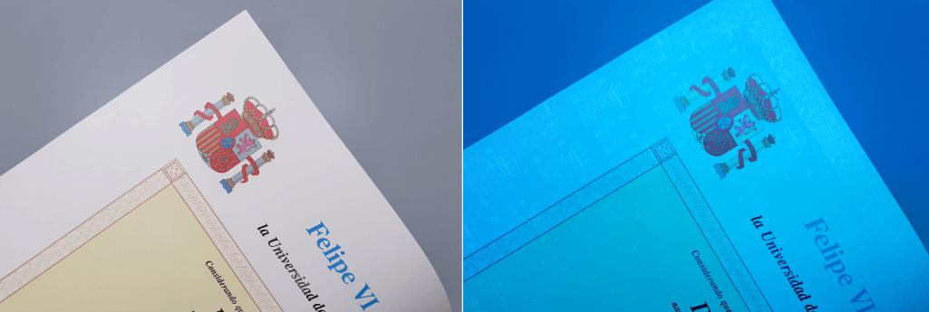Detalle del título con luz D65 (izquierda) y luz UV (derecho)