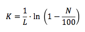 Ecuación del coeficiente de absorción (K)